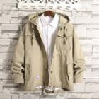 Plain Hooded Button Jacket