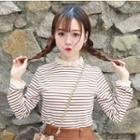 Lace Trim Striped Long Sleeve T-shirt