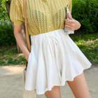 Drawcord-waist Flared Linen Blend Mini Skort