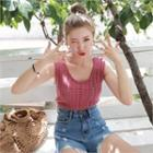 Sleeveless Colored Cable-knit Top