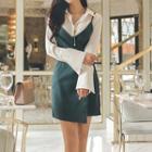 Sleeveless Spaghetti-strap Dress / Long-sleeve Shirt