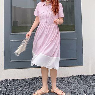 Short-sleeve Striped A-line Midi Shirtdress