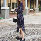 Floral Print Long Sleeve Midi Chiffon Dress