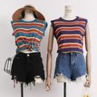 Lightweight Sleeveless Striped Knit Top