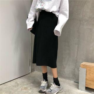 Rib-knit Slit-back Midi Skirt
