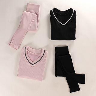 Set: Long-sleeve V-neck Top + Tights