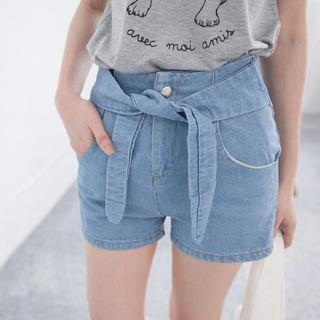 Tie-waist Denim Shorts