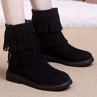 Back-zip Fringed Short Boots