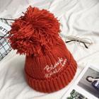 Embroidery Pompom Beanie Hat