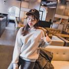 Contrast-collar Brushed Fleece Top
