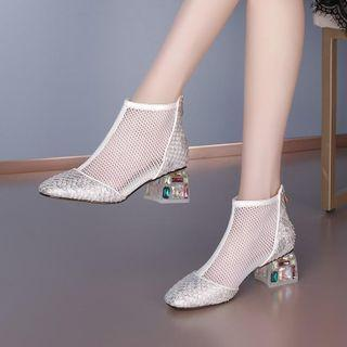 Mesh Panel Rhinestone Chunky Heel Ankle Boots