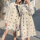 Dotted Long-sleeve A-line Dress / Midi Dress