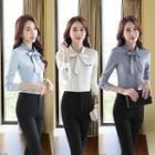 Set: Bow-accent Blouse + Pants