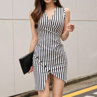 Sleeveless Striped Mini Bodycon Dress