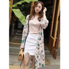 Floral Pattern Long Robe Cardigan