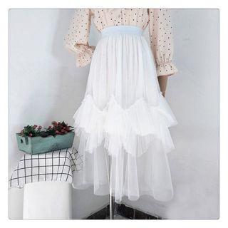 Ruffle Trim Midi Mesh Skirt