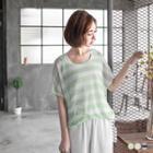 Striped Open-knit Dolman Top