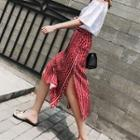 Side-slit Patterned Midi Skirt