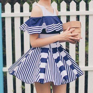 Open Shoulder Stripe Panel Swimdress