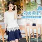 Lace-panel Lace-up Dress
