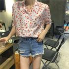 Short-sleeve Heart Print Shirt