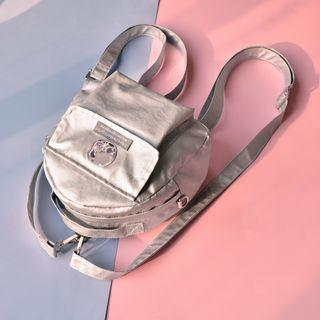 Faux Leather Logo Backpack Silver - One Size