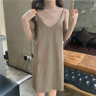 Plain Turtle-neck Long-sleeve Slim-fit Top / Faux-leather Sleeveless Dress