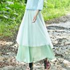 Layered Maxi Chiffon Skirt