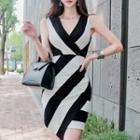 Sleeveless Asymmetric Striped Sheath Dress