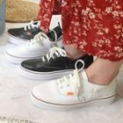 Faux Leather Stitched Sneakers