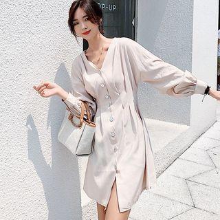 Plain Long-sleeve Slim-fit Dress Almond - One Size