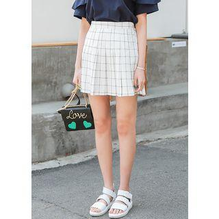 Checked Pleat Mini Skirt