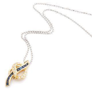 18k Yellow Gold Pendant With Diamonds And Blue Sapphires