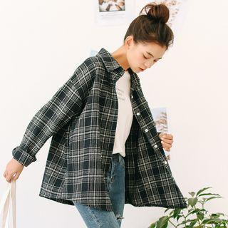 Long Sleeve Plaid Boyfriend Shirt As Shown In Figure - One Size