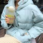 Hooded Padded Jacket With Sash