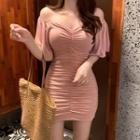 Elbow-sleeve Crinkled Mini Sheath Dress