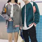 Couple Matching Letter Embroidered Baseball Jacket