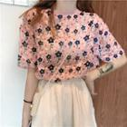 Short-sleeve Floral Top Pink - One Size