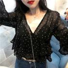 Polka Dot V-neck Top Black - One Size