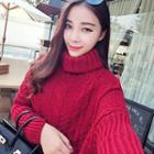 Turtleneck Cable Knit Long Sweater