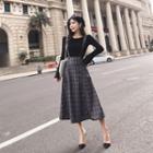 Plain Long-sleeve Sweater / Plaid Jumper Dress