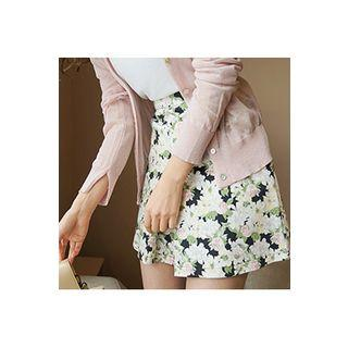 Slit Floral A-line Mini Skirt