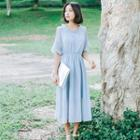 Check Short-sleeve Cold-shoulder A-line Dress