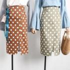 Slit Polka Dot Pencil Skirt