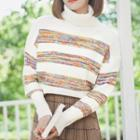 Striped Turtleneck Sweater Stripe - White - One Size