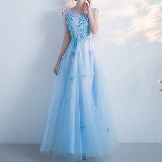 Butterfly Embroidered Evening Gown