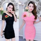 Rose Embroidered Bodycon Dress