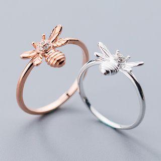 925 Sterling Silver Rhinestone Bee Ring