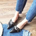 Studded Cross Strap Pointed Flats