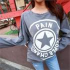 Raglan-sleeve Distressed Lettering T-shirt